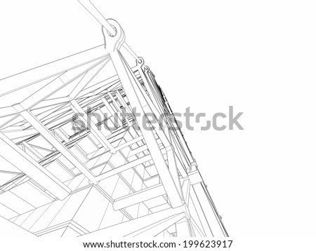 contemporary building construction on white background