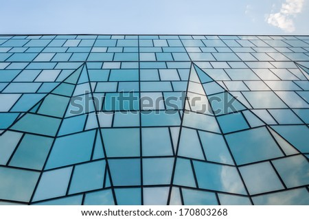 Contemporary business building against blue sky in Downtown Toronto, Ontario, Canada