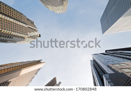 Contemporary business buildings against blue sky in Downtown Toronto, Ontario, Canada - stock photo