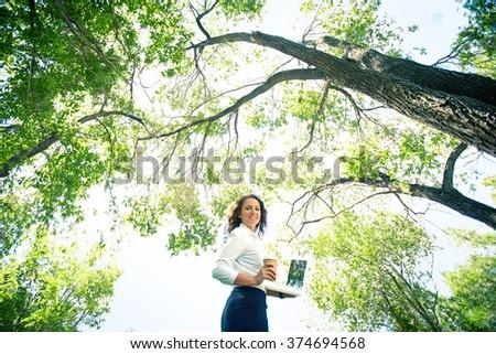 Contemporary businesswoman - stock photo
