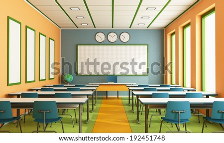 Contemporary classroom with colorful wall and floor without student - rendering - stock photo