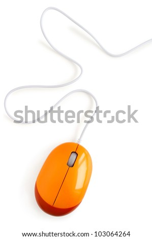 Contemporary computer mouse isolated on white background - stock photo