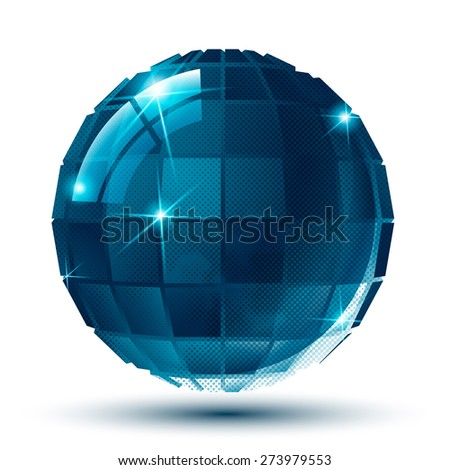 Contemporary 3d spherical object with dot texture, pixilated sparkle element