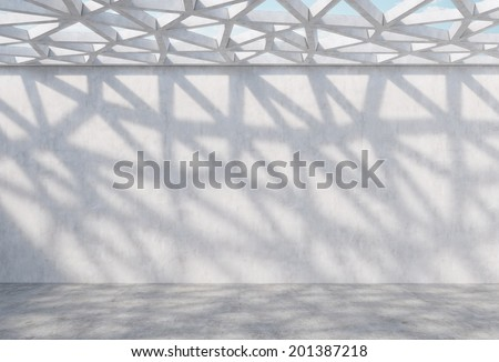 Contemporary decorative office space with triangle holes ceiling and light beams.  - stock photo