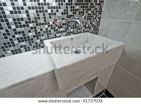 contemporary design marble hand wash basin and mosaic tiles