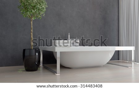 Contemporary Design White Bathtub Free Standing in Sparsely Decorated Bathroom with Potted Plant. 3d Rendering