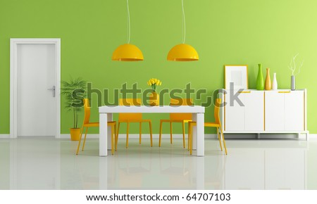 contemporary dining room with white table and orange chairs - rendering - stock photo