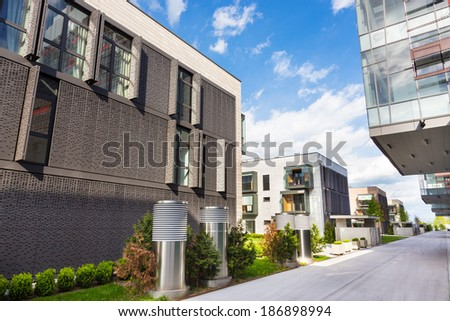 Contemporary eco friendly residential architecture in Ljubljana, Slovenia, Europe. - stock photo