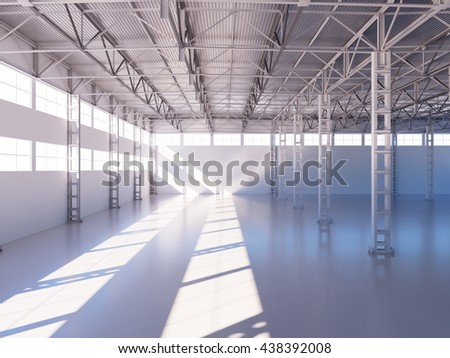 Contemporary empty warehouse interior 3d illustration background - stock photo