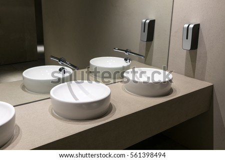 Contemporary European Ceramic Sink, Modern Washbasin In Office Building,  Washstands With Photocells, Public