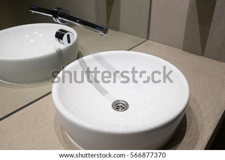 Contemporary European White Sink, Ceramic Sink With Contactless Sensor,  Public Toilet With Modern Wash