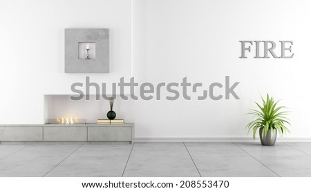 Contemporary fireplace ina minimalist living room - Rendering - stock photo