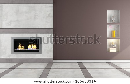 Contemporary  gas fireplace in a classic room - rendering - stock photo