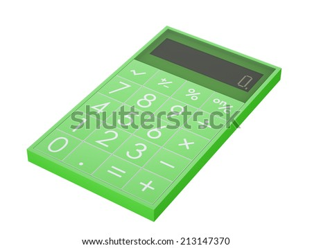Contemporary green plastic calculator isolated on white