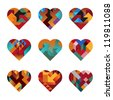 Contemporary Hearts of Interlocking Abstract Shapes (jpeg file has clipping path) - stock vector
