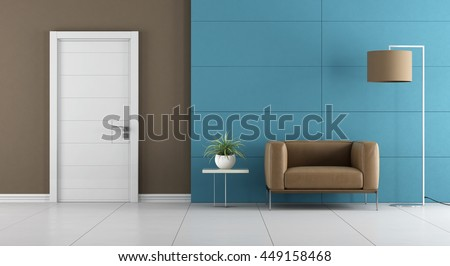 Contemporary home entrance with white door and leather armchair on blue wall paneling - 3d rendering