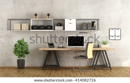 Contemporary Home Office With Laptop On Minimalist Desk   3d Rendering