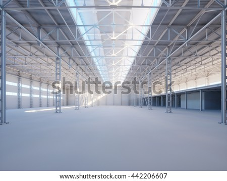 Contemporary industrial building interior illuminated by sunlight 3d illustration background
