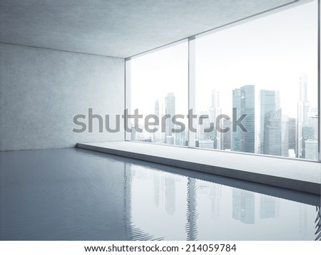 Contemporary interior with swimming pool and city view - stock photo