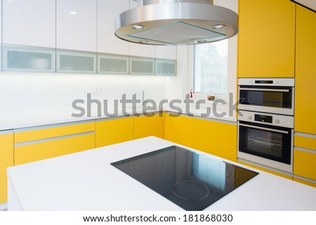 contemporary kitchen interior - stock photo
