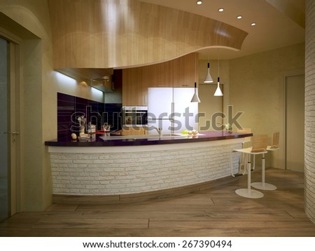 Contemporary Kitchen Style, 3d render