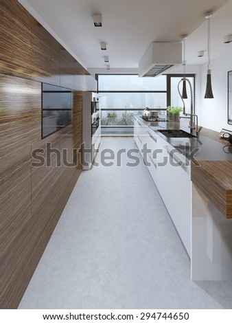 Contemporary kitchen trend. 3D render