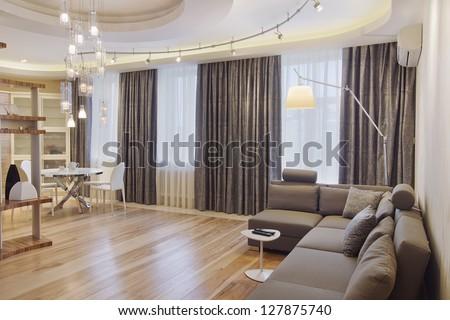 contemporary living room - stock photo