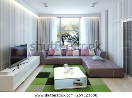 Contemporary living room design. 3d render - stock photo