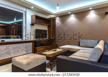contemporary living room interior - stock photo