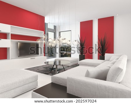 Contemporary living room interior with white decor and lounge suite with colorful vibrant red accents and a large television set with two small corner windows - stock photo
