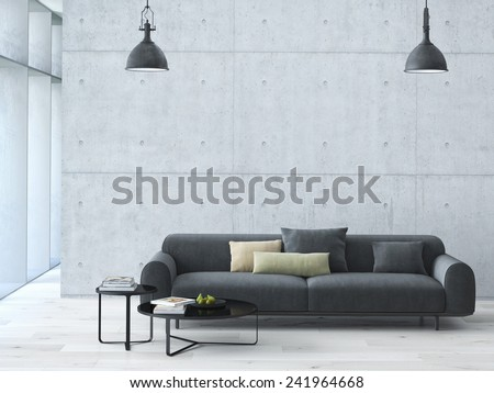 Contemporary living room loft interior. 3d rendering - stock photo