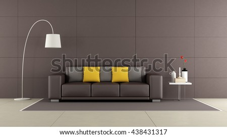 Contemporary living room with brown sofa,coffee table and floor lamp -3d rendering
