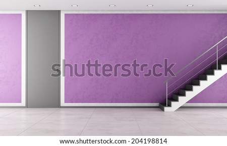 Contemporary living room with door, black staircase and banister in stainless - stock photo
