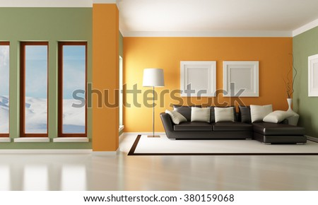 Contemporary living room with elegant couch - rendering - the image on background is a my photo-3d rendering - stock photo