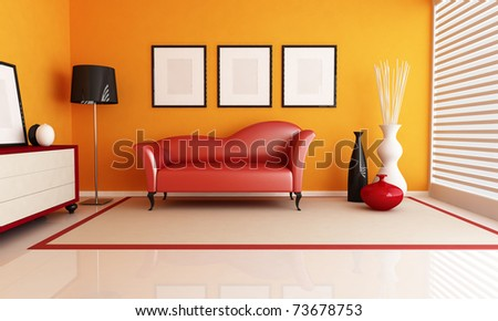 contemporary living room with fashion red couch - rendering - stock photo