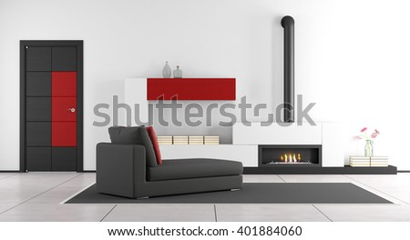 Contemporary living room with fireplace,chaise lounge and closed door - 3d rendering - stock photo