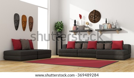 Contemporary living room with modern sofa and footstools -3D Rendering