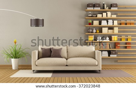 Contemporary living room with sofa and minimalist bookcase - 3D Rendering - stock photo
