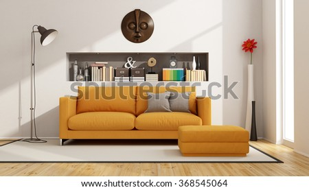 Contemporary living room with sofa, footstool and niche with books and objects - 3D Rendering - stock photo