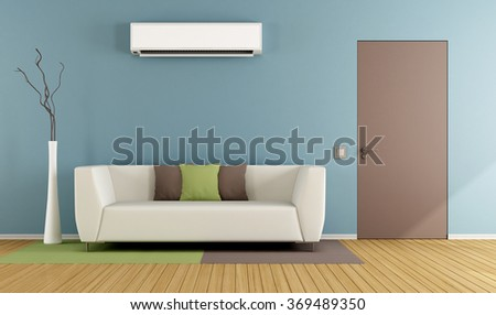 Contemporary living room with white sofa, air conditioner and closed door - 3D Rendering - stock photo