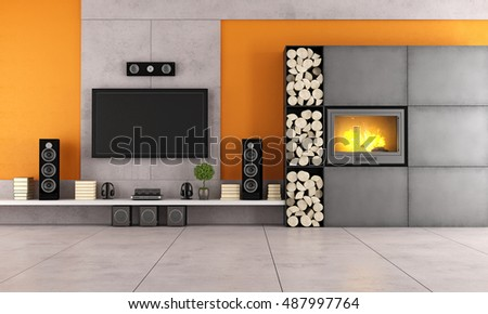 Contemporary living room with white wall unit and fireplace - 3d rendering