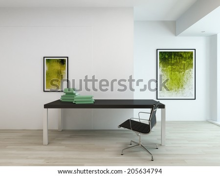 Contemporary minimal interior of an office or a residential study room, with black rectangular table and chair, two abstract paintings in green hues on white walls and beige wooden parquet - stock photo