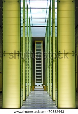 contemporary modern interior museum with two light colum for exhibition - stock photo