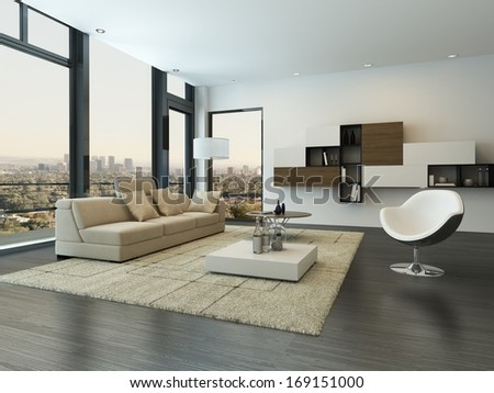 Contemporary modern living room interior - stock photo