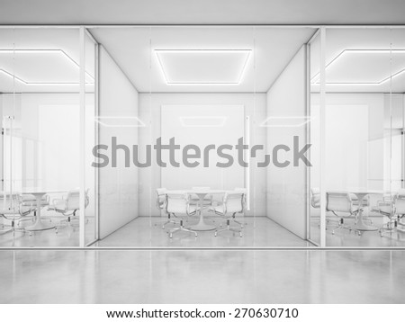 Contemporary office interior. 3D rendering - stock photo
