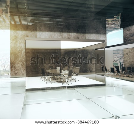 Contemporary office with modern glassy conference room and concrete walls with sunlight,  - stock photo