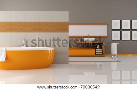 contemporary orange and brown bathroom - rendering - stock photo