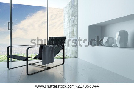 Contemporary recliner chair in a white living room interior with a recessed alcove for ornamental vases and a large view window leading to a patio
