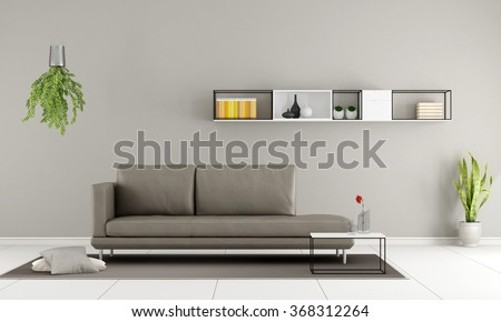 Contemporary room with modern couch and  minimalist sideboard on wall - 3D Rendering - stock photo