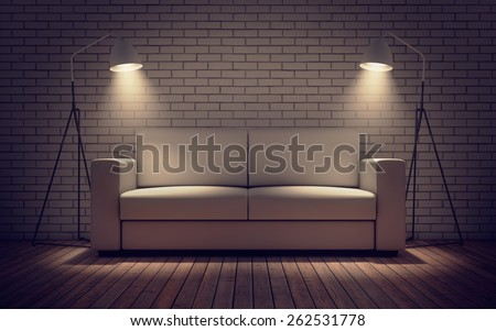 Contemporary room with sofa and lights. 3D rendering - stock photo